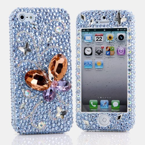 Special Sale BlingAngels® 3D Luxury Bling iphone 5 5s Case Cover Faceplate Swarovski Crystals Diamond Sparkle bedazzled jeweled Design Front & Back Snap-on Hard Case + FREE Premium Quality Stylus and Water-Resistant Bag (100% Handcrafted by BlingAngels) (Diamond Butterfy in Light Blue Background)