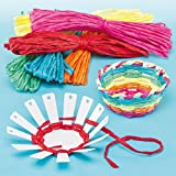 Card Basket Weaving Kits 6 Colours of Raffia, Finished Size 10cm, Kid's Craft Activities Great for Mother's Day & Easter- Pack of 4