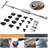 ARISD Paintless Dent Repair Puller Kit - PDR Puller Grip PRO Slide Hammer T-Bar Tool with 16pcs Dent Removal Pulling Tabs for Car Auto Body Hail Damage Remover (Color: Silver)