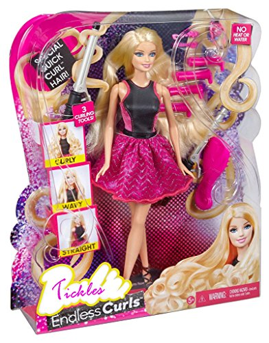 Tickles Pink Black Hairtastic Endless Curls Doll Toy Girl 30 cm AT-DL066