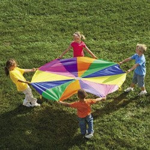 6 Ft Kids Parachute Rainbow Outdoor Play Game Teamwork Exercise Sport front-1059937