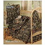 Realtree Max-4 Camo - 6 Piece Crib Set includes (Crib Fitted Sheet, Crib Bumper Pad, Crib Headboard Pad, Crib Comforter, Crib Bedskirt and Crib Diaper Stacker)- Save Big By Bundling!