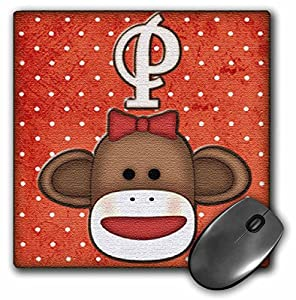 3dRose Cute Sock Monkey Girl Initial Letter P Mouse Pad (mp_102819_1)