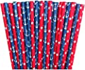Red White and Blue Stars and Anchor Themed Paper Straws -Birthday Party Supply Patriotic 4th of July Picnic Supply Nautical 100%Biodegradable 7.75 Inches Pack of 100