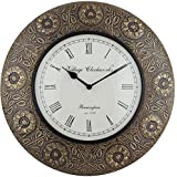 Swagger 10 Inch Dial 16X16 Inches Embossed Round Flower Vintage Wall Clock / Brass Wall Clock / Antique Wall Clock / Wooden Wall Clock