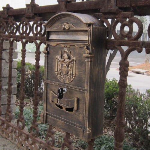 Traditional Aristocratic, Sun Identity Villa Cast Aluminum Mailboxes 32 Colors Available (02 Antique Bronze)