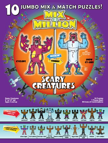 Scary Creatures Mix-A-Million 10 Jumbo Mix and Match Puzzles