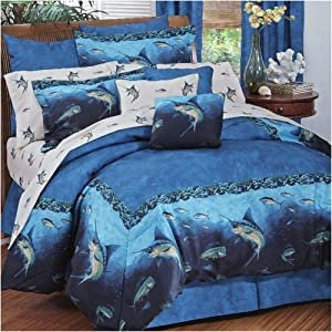 Deep sea fishing theme bedding comforter for Fish bedding twin