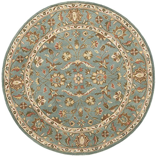 Safavieh Heritage Collection HG969A Handmade Blue and Blue Wool Round Area Rug, 4 feet in Diameter (4' Diameter)