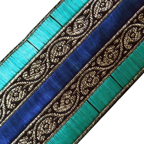 Wide Cyan Blue Thread Weaving Sari Border Lace Sewing Craft India 3 Yd