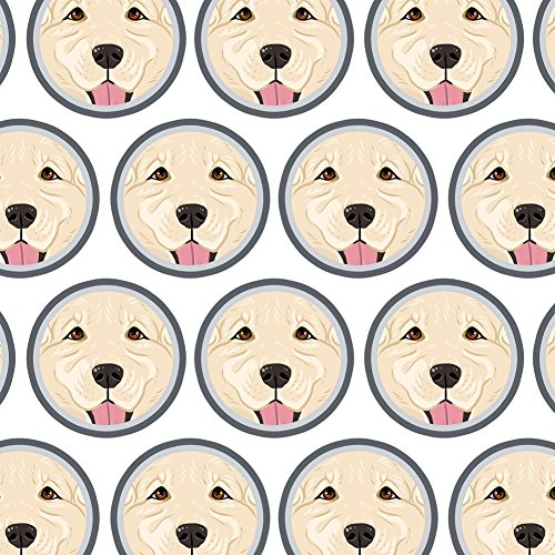 Premium Gift Wrap Wrapping Paper Roll Dog Puppy - Golden Retriever Face Light White
