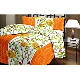 Floral Print Reversible Poly Cotton Orange AC Comfort/Blanket/Quilt (Single Bed)