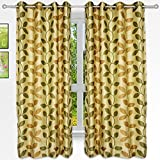 Story@Home 5 feet Set of 2 happiness 2 Piece Natural Pattern Polyster Curtains Green