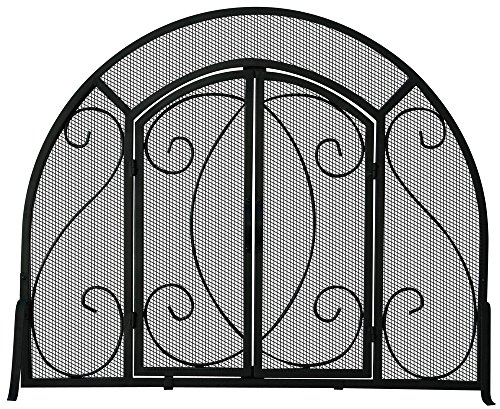 Single Panel Fireplace Screen w Doors & Ornate Scrollwork