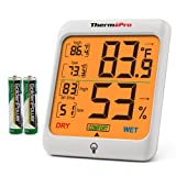 ThermoPro TP53 Hygrometer Thermometer Humidity Gauge Indicator Digital Indoor Thermometer Room Temperature and Humidity Monitor with Touch Backlight for Humidifiers Dehumidifiers (Color: White&Grey, Tamaño: Indoor)