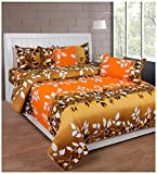 Soni Traders 144 TC Cotton Double Bedsheet - Floral, Yellow
