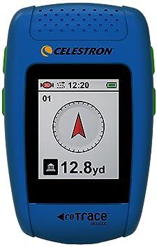 Celestron reTrace Deluxe Système de navigation de randonnée Sauvegarde de 20 emplacements Fonctions baromètre/thermomètre Mousqueton et sacoche de transport incluses Bleu (Import Allemagne)