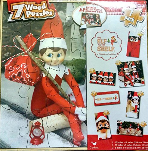 Elf on the Shelf 7 Pack Wood Puzzles and Storage Box