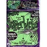 13 FEET STRETCHY JUMBO GLOW IN THE DARK GREEN HALLOWEEN SPIDER WEBS + 4 SPI