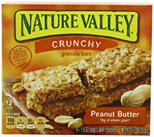 Nature Valley Crunchy Granola Bars, Peanut Butter, 12 Bars in 6 - 1.5 Ounce 2 Bar Pouches (Pack of 6)