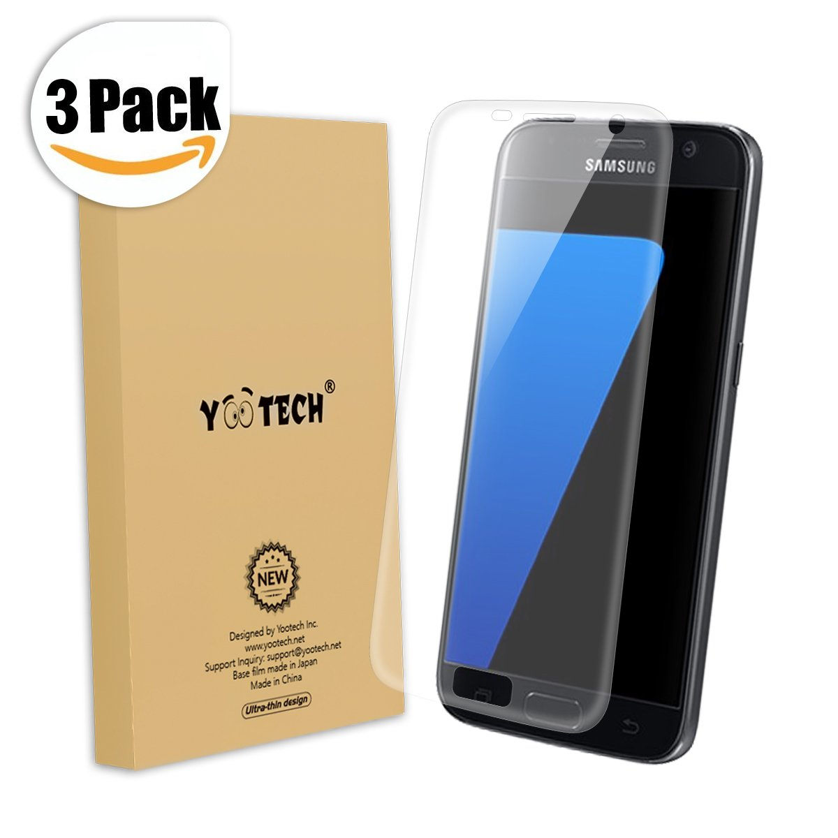Galaxy S7 Screen Protector (Full Coverage),Yootech (3-Pack) (Anti-Bubble) (HD Ultra Clear Film) Edge to Edge Screen Protector for Samsung Galaxy S7,Lifetime Warranty