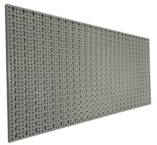 XL-Lochblech-aus-Metall-mit-Schlssellochung-25-mm-Pulverbeschichtet-in-Hellgrau-Strke-ca-1-mm-Mae-98-x-46-x-1-cm