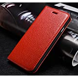 Multipurpose Fashion Litchi Print Case Business Style Flip Folio Genuine Leather Case Apple iPhone 6plus (5.5 inches) Cover with Convertible Stand - Red
