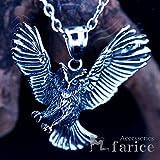 フクロウ(梟)モチーフ 翼を広げ獲物を狩る猛禽類デザイン メンズ ペンダント ネックレス