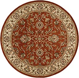 Red Rug Classic Design 6-Foot Round Hand-Made Traditional Wool Carpet