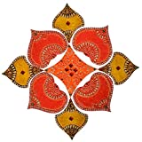 Just Crafts Wood Wooden Rangoli (JC034, 20 Cm X 20 Cm X 8 Cm)