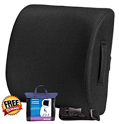 Elephix Orthopedic Lumbar Back Support Cushion, Contoured Memory Foam Pillow For Chair Or Car | Corrects Posture & Eases Lower Back Pain by Elephix