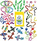 100 Pc Terrific Toy Assortment (Includes: Glider Airplanes, Sticky Hands & Mustaches, Flying Frogs, Snakes, Rings, Bracelets, and Other Small/medium Toys for Party Favor Bags, Piñata, Carnival Prizes, or School Classroom Rewards Box)