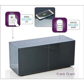 Frank Olsen Grey Glass Medium Intelligent Media Cabinet