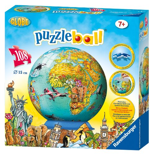 Ravensburger Childrens World Map 108 Piece Childrens Puzzleball