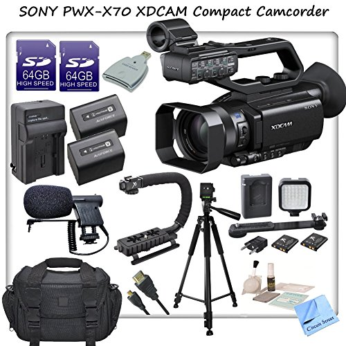 Sony Pxw-X70 Professional Xdcam Compact Camcorder W/ Cs Pro Package: Includes 2 Long Life Sony Np-Fv100 Replacement Batteries, Rapid Travel Charger With Car Adapter & Euro Plugs, Stabilizing Handle/Grip, Boom Microphone, Led Video Light With 2 Lithium Bat front-583904