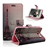 TRURENDI Vintage Retro Paris France Eiffel Tower Girls Cute Animal Painted Art Series PU Leather Wallet Type Magnet Design Flip Case Cover Credit Card Holder Pouch Case for Samsung Galaxy S3 III I9300