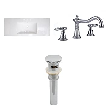 "Jade Bath JB-16728 48"" W x 18"" D Ceramic Top Set with 8"" o.c. CUPC Faucet and Drain, White"