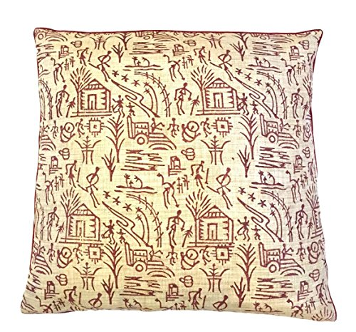 the-indian-promenade-16-x-16-inch-blended-cotton-warli-print-pastel-cushion-cover-wine-beige