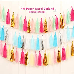 LEWOTE Tissue Paper Tassel Garland - 20pcs Tassels Per Package - 12 Inch Long Tassels(Gold/Pink/White) (Color: Gold/Pink/White, Tamaño: 12inch)