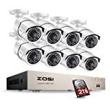 ZOSI Full HD 1080P PoE Video Security Cameras System,8CH 1080P Surveillance NVR, 8x2.0 Megapixel Outdoor Indoor Weatherproof IP Cameras, 120ft Night Vision with 2TB Hard Drive, Power Over Ethernet (Color: 2MP POE 8Cameras System With HDD, Tamaño: 2MP 8CH+8Camera+2TB)