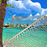 """SueSport 59"""" Rope Double Hammock with Spreader Bars Cotton"""