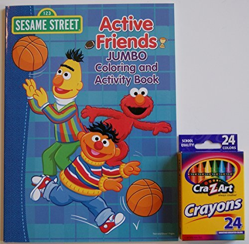 Sesame Street Active Friends Jumbo Coloring and Activity Book with Cra-Z-Art Crayons