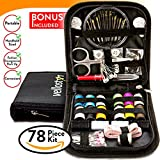 COMPACT SEWING KIT w/ 4 BONUSES & Most Useful Sewing Accessories for Home, Travel & Sewing Emergency, for Beginners & Campers, Quality Sewing Supplies for Mending & Sewing Needs, Improved Needle Case