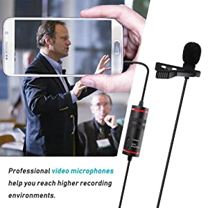 PoP voice Professional 312 Lavalier Lapel Microphone, Recording Mic for iPhone/Camera/PC/Android/YouTube/Interview/Video Conferencing/DSLR/Camcorder