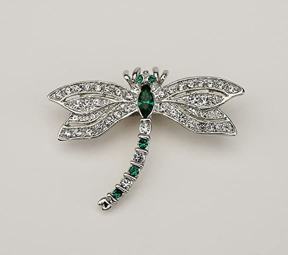 Large Emerald Dragonfly Brooch
