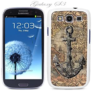 White Snap-on S3 Phone Cover Case for Samsung Galaxy SIII Phone - ANCHOR IN VINTAGE PIRATE MAP LOGO DESIGN. Height: 5.3 Inches X Width: 2.6 Inches X Thickness: 0.5 Inch.