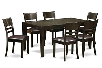 East West Furniture LYFD7-CAP-LC 7-Piece Dining Table Set, Cappuccino Finish