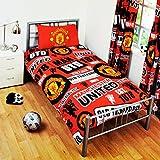 マンチェスター・ユナイテッド フットボールクラブ Manchester United オフィシャル パッチ クレスト 掛け布団カバー・枕カバーセット サッカーべディングセット (イギリスシングル) (レッド)