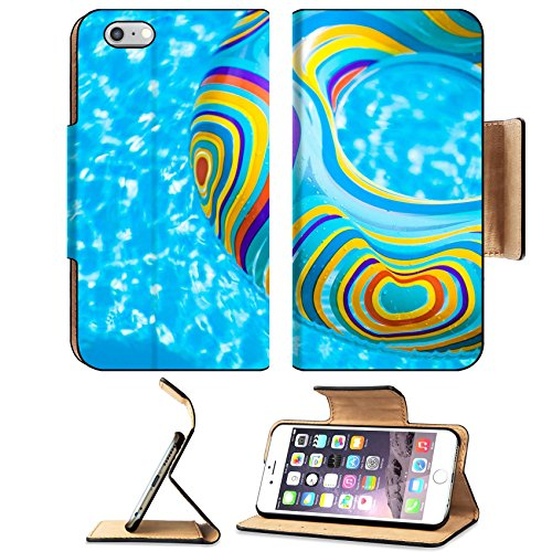 MSD Premium Apple iPhone 6 Plus iPhone 6S Plus Flip Pu Leather Wallet Case Inflatable colorful Rubber Ring floating in blue swimming pool Image ID 23577454