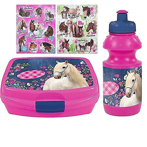 2-tlg-Pferde-Set-Brotdose-Trinkflasche-16-Pferde-Sticker-Motiv-I-love-Horses-fr-Schule-Sport-Reitunterricht-oder-Kindergarten